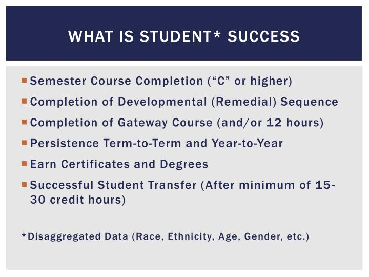 What is Student* Success