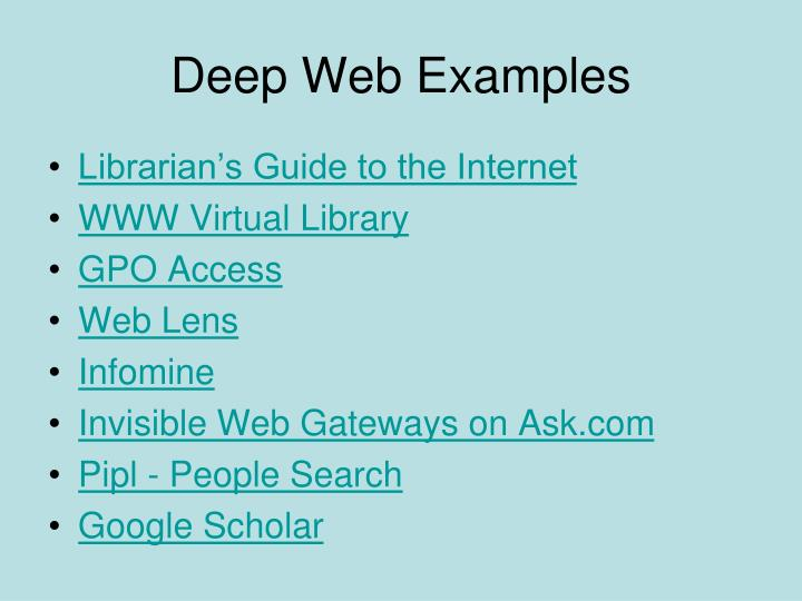 Deep Web Examples