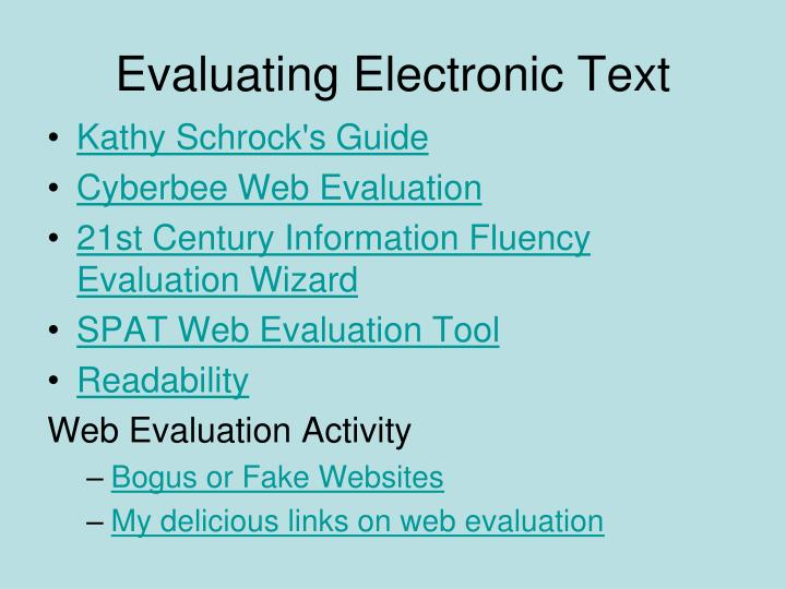 Evaluating Electronic Text