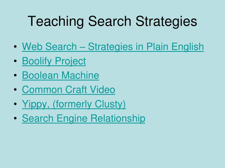 Teaching search strategies
