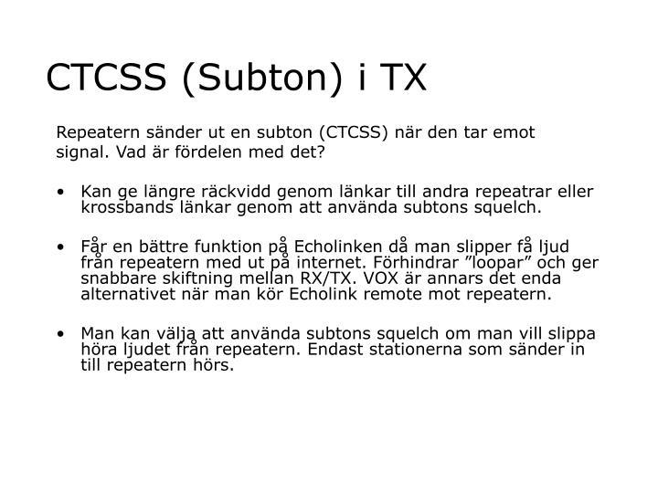 CTCSS (Subton) i TX