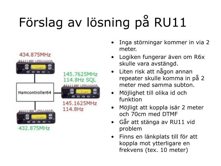 Förslag av lösning på RU11