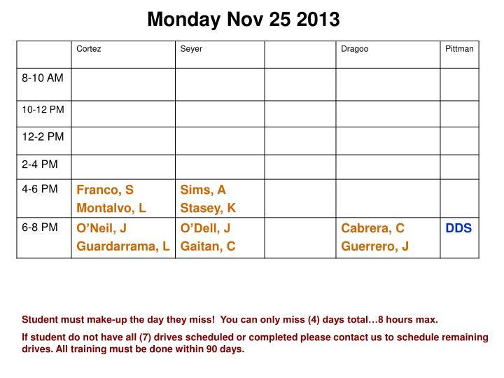 Monday Nov 25 2013