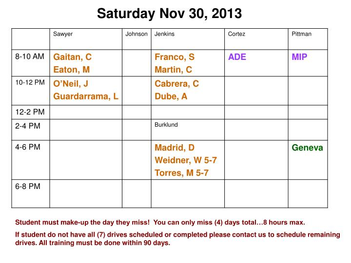 Saturday Nov 30, 2013