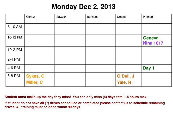 Monday Dec 2, 2013