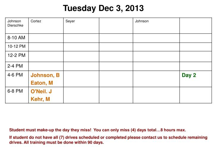 Tuesday Dec 3, 2013
