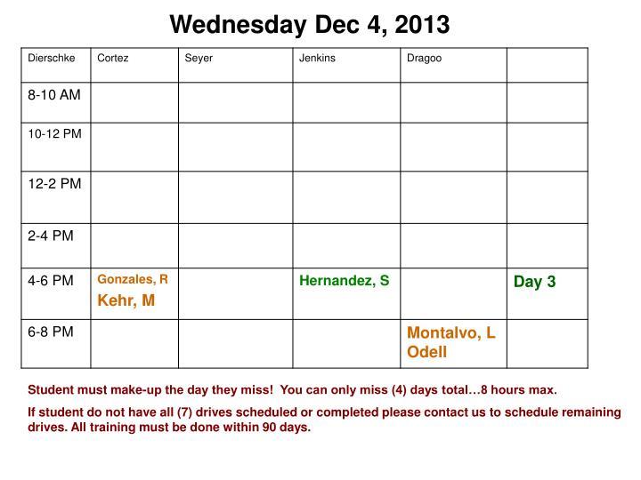 Wednesday Dec 4, 2013