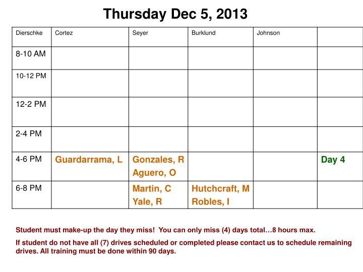 Thursday Dec 5, 2013