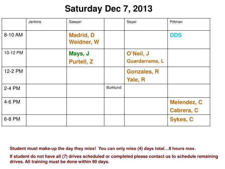 Saturday Dec 7, 2013