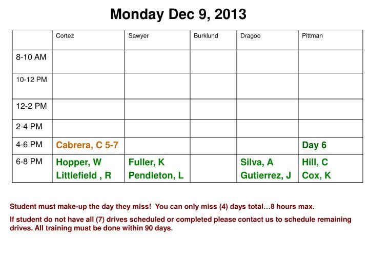 Monday Dec 9, 2013
