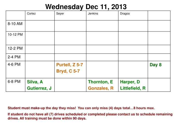 Wednesday Dec 11, 2013