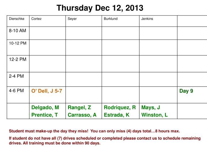 Thursday Dec 12, 2013