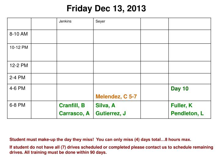 Friday Dec 13, 2013