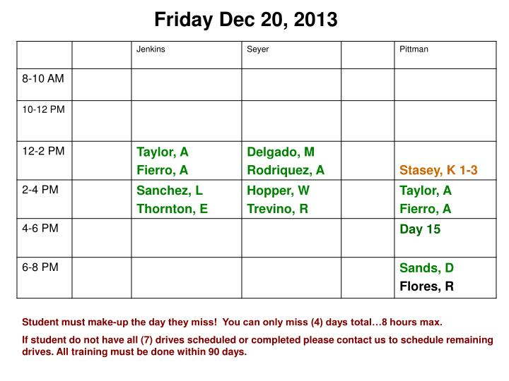 Friday Dec 20, 2013