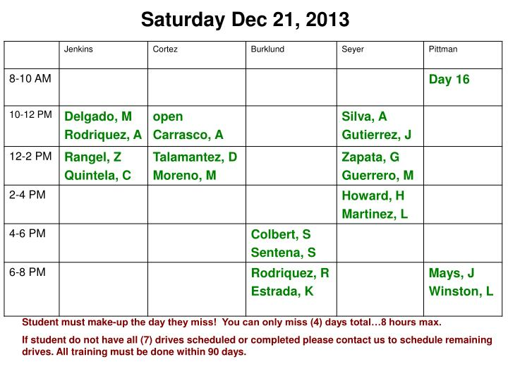 Saturday Dec 21, 2013