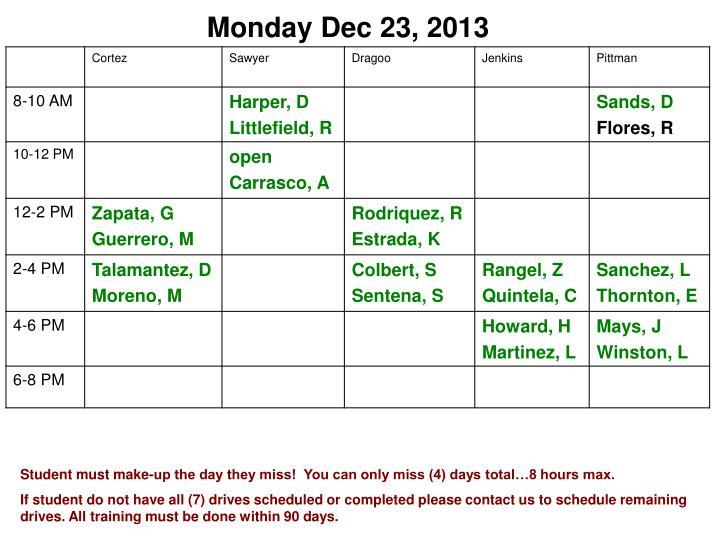 Monday Dec 23, 2013