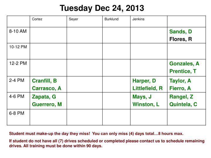 Tuesday Dec 24, 2013