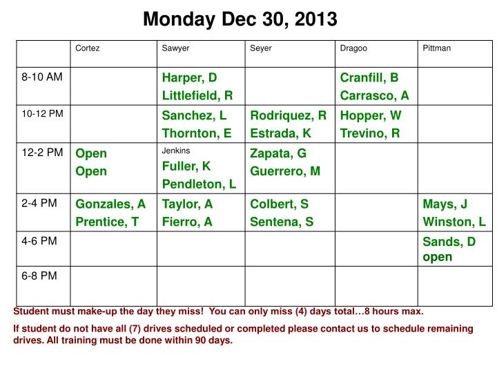 Monday Dec 30, 2013