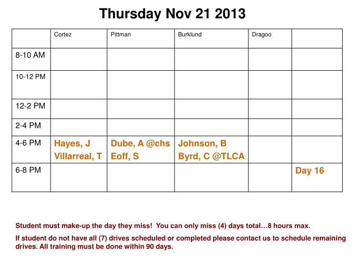 Thursday Nov 21 2013