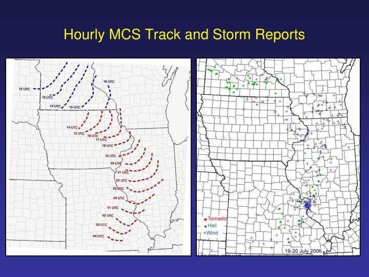Hourly MCS Track and Storm Reports