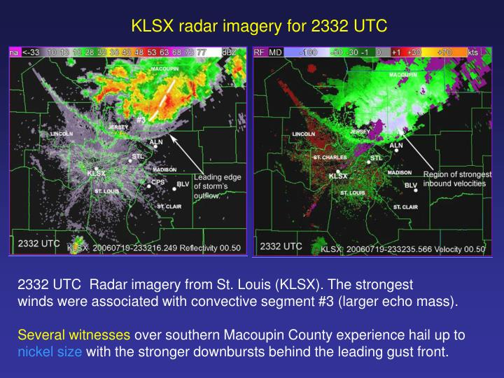 KLSX radar imagery for 2332 UTC