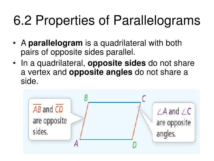 6 2 properties of parallelograms