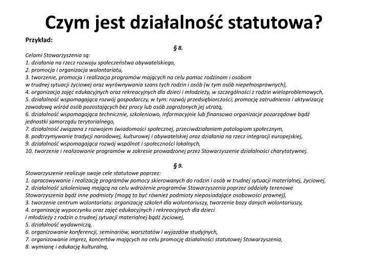 Czym jest działalność statutowa?