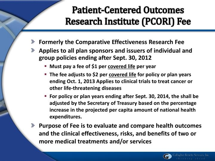 Patient-Centered Outcomes Research Institute (PCORI) Fee