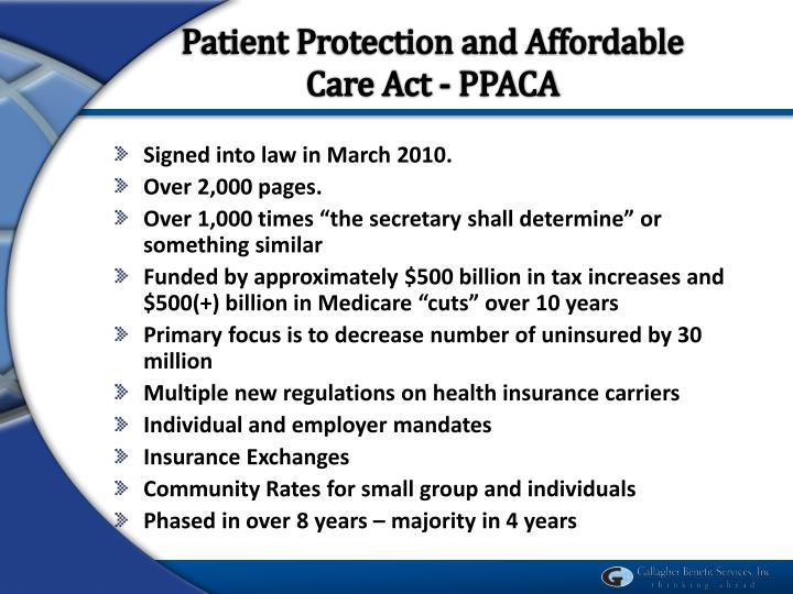 Patient Protection and Affordable Care Act - PPACA