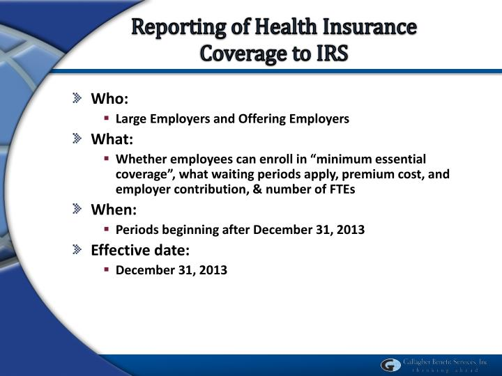 Reporting of Health Insurance Coverage to IRS