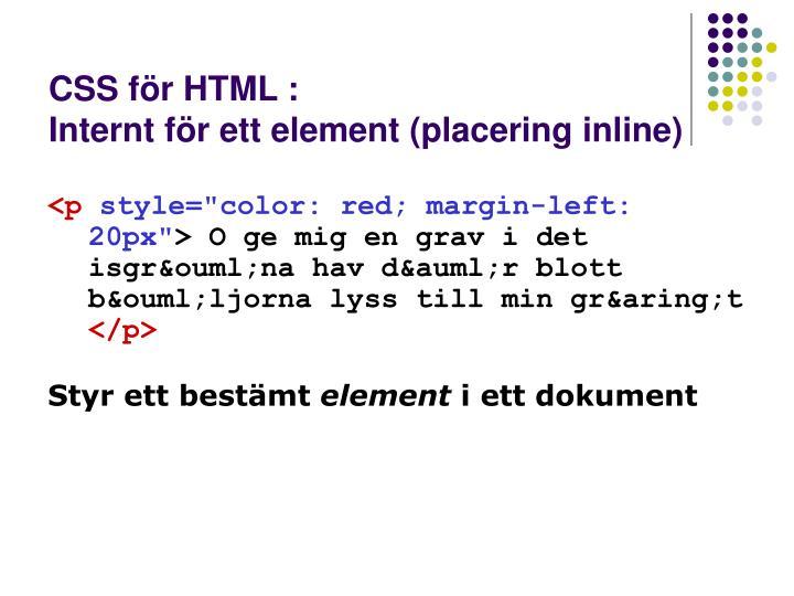 CSS för HTML :
