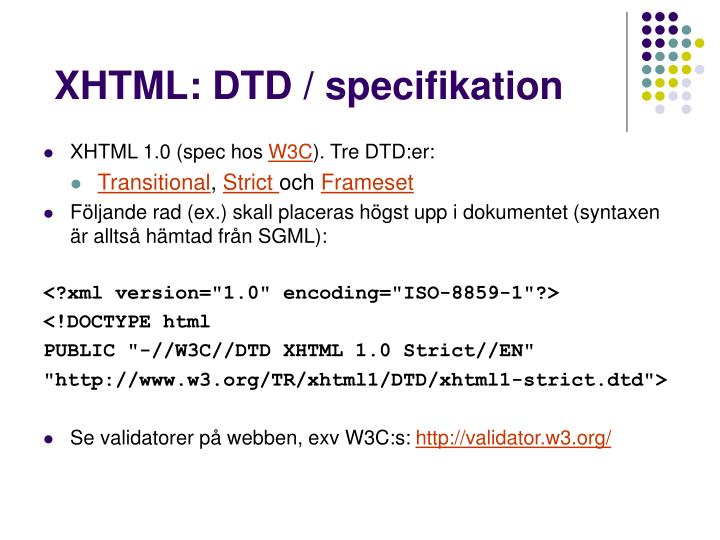 XHTML: DTD / specifikation