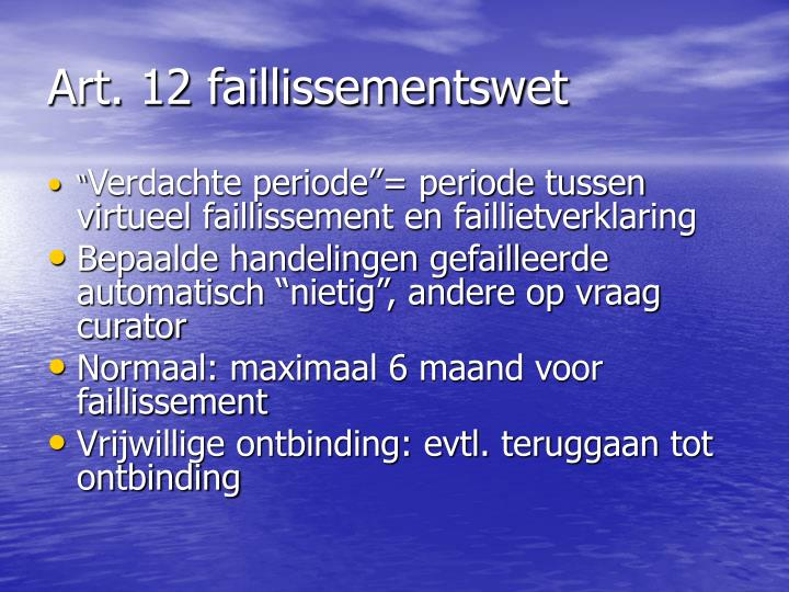 Art. 12 faillissementswet