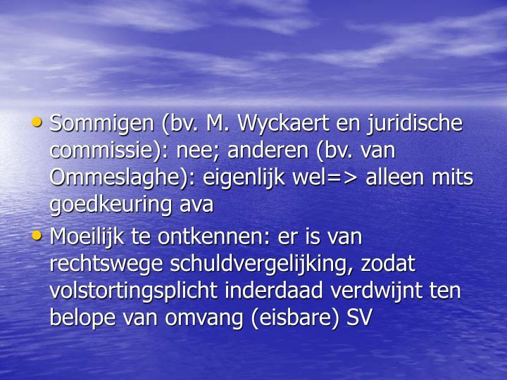 Sommigen (bv. M. Wyckaert en juridische commissie): nee; anderen (bv. van Ommeslaghe): eigenlijk wel=> alleen mits goedkeuring ava