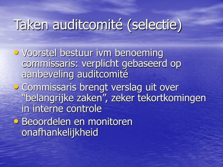 Taken auditcomité (selectie)