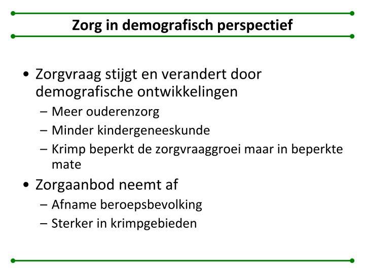 Zorg in demografisch perspectief