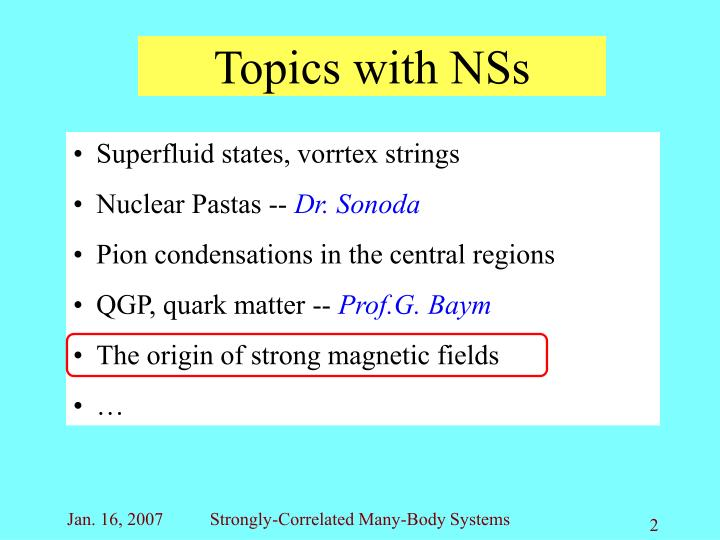 Topics with nss