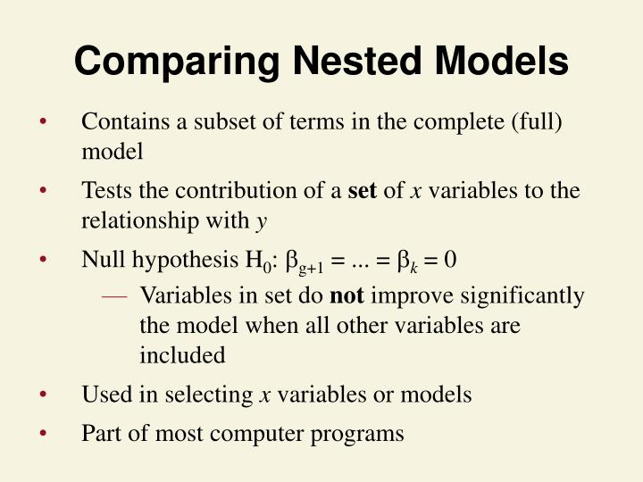Comparing Nested Models