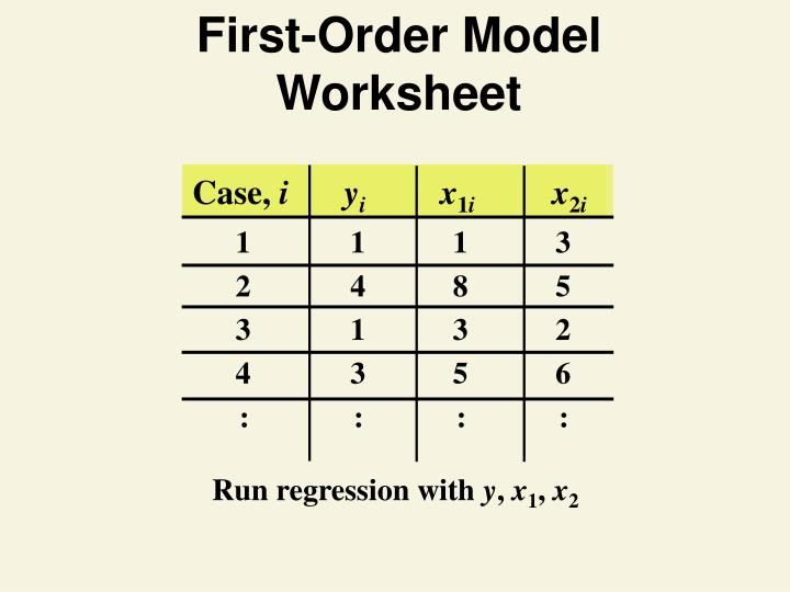 First-Order Model Worksheet