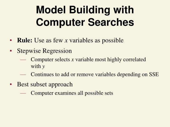 Model Building with Computer Searches