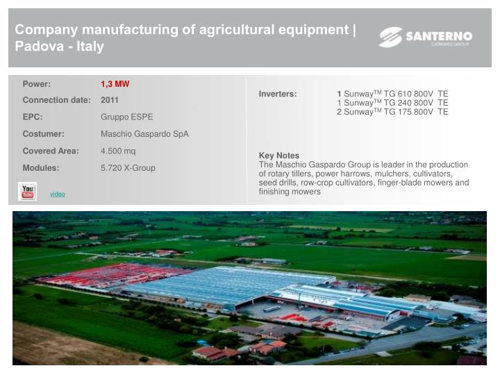 Company manufacturing of agricultural equipment