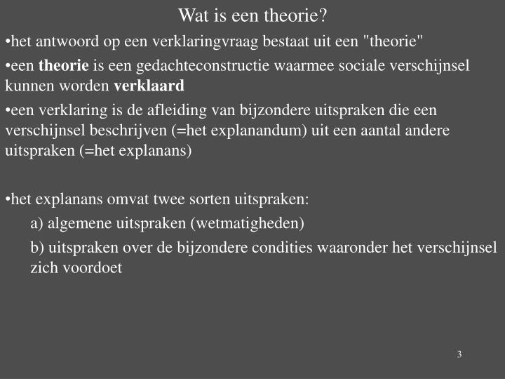 Wat is een theorie?