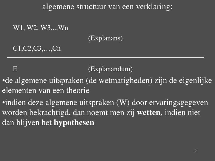 algemene structuur van een verklaring: