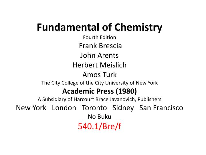Fundamental of Chemistry