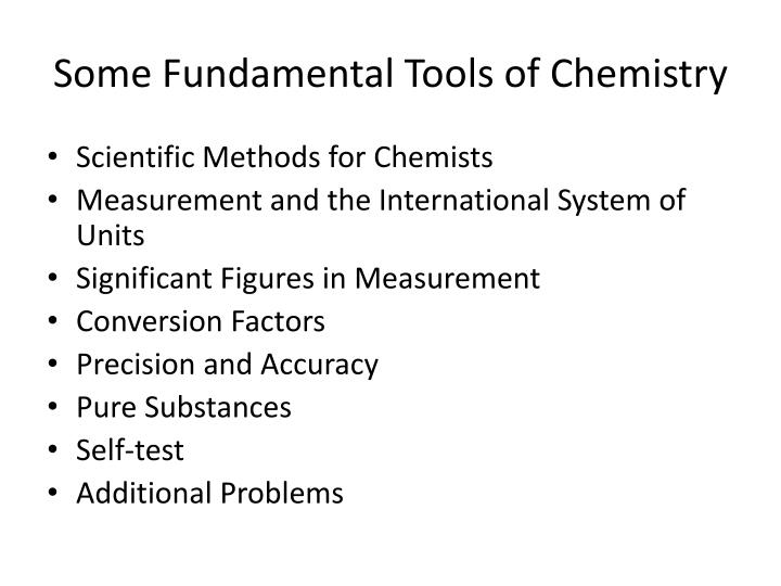Some fundamental tools of chemistry