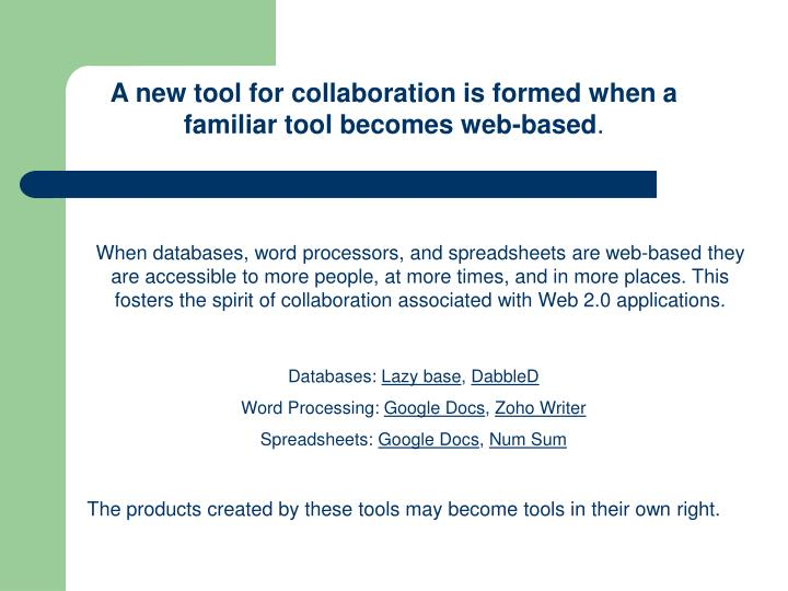A new tool for collaboration is formed when a          familiar tool becomes web-based