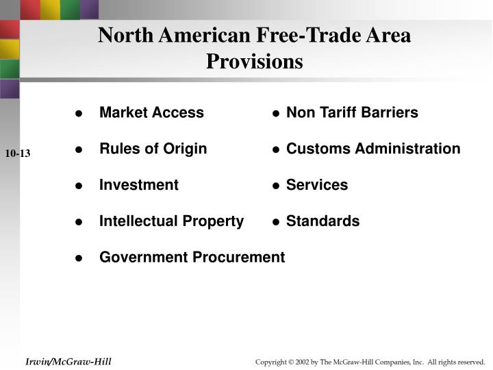 North American Free-Trade Area Provisions