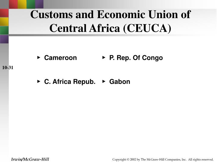 Customs and Economic Union of Central Africa (CEUCA)