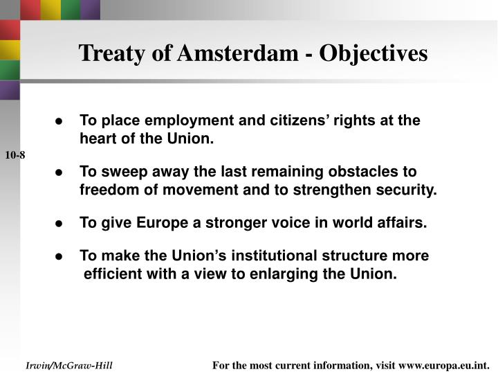 Treaty of Amsterdam - Objectives