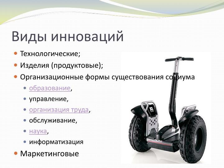 Виды инноваций